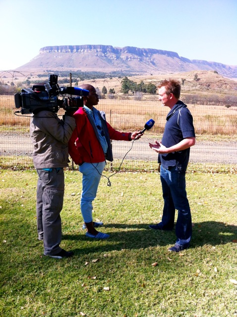 Melvin Boecher being interviewed by SABC at the foot of the Drakensberg.